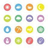 Kolorowa mieszkanie pogody ikona ustawiająca na okręgu Zdjęcie Stock
