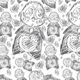 Kolorowa śmieszna nowego roku ` s tekstura, wzór z pingwinami Zdjęcie Royalty Free