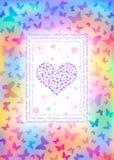 Kolorowa motyl karta Zdjęcie Stock