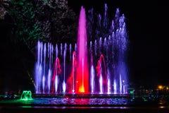Kolorowa muzykalna fontanna Zdjęcia Royalty Free