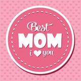 Kolorowa Najlepszy mama Kocham Ciebie emblemat Wektorowi projektów elementy Dla kartka z pozdrowieniami i Inny druków szablony Ty ilustracji
