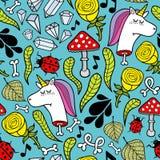 Kolorowa niekończący się ilustracja z nieżywymi jednorożec i roślinami Zdjęcie Stock