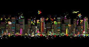 Kolorowa nocy metropolia, bezszwowy wzór dla twój projekta royalty ilustracja