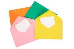 Kolorowa otwarta koperta z papierem Odizolowywającym Fotografia Stock