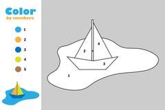 Kolorowa papierowa łódź w kałuży w kreskówka stylu, kolor liczbą, edukacji papierowa gra dla rozwoju dzieci, barwi ilustracji