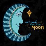 Kolorowa piękna kreskówki księżyc z gwiazdą na czarnym tle Obraz Royalty Free
