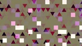 Kolorowa pixelated animacja z mruganie trójbokami i kwadratami, bezszwowa pętla animacja Migocący geometrical royalty ilustracja