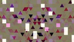 Kolorowa pixelated animacja z mruganie tr?jbokami i kwadratami, bezszwowa p?tla animacja Migoc?cy geometrical ilustracja wektor
