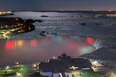 Kolorowa podkowa Spada przy nocą, Kanada Zdjęcia Stock