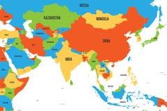 Kolorowa polityczna mapa westernu, południowego i wschodniego Azja, Prosta płaska wektorowa ilustracja ilustracji