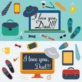 Kolorowa projekt kolekcja dzień szczęśliwego ojcze Fotografia Stock