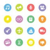 Kolorowa prosta płaska ikona ustawia 5 na okręgu Obraz Stock