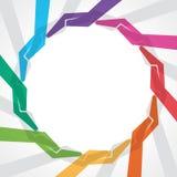 Kolorowa ręka robi round kształtowi dla save rzeczy Zdjęcia Stock