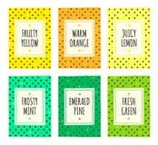 Kolorowa ręka rysować owocowe deseniowe karty ustawiać Obraz Stock