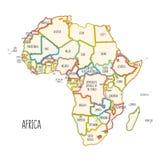 Kolorowa ręka rysująca polityczna mapa Afryka zdjęcia stock