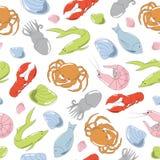 Kolorowa ręka rysujący bezszwowy wzór z owoce morza Zdjęcie Stock