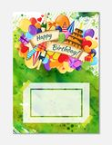 Kolorowa ręka rysujący doodle wakacyjny plakatowy szablon Kolorowa wektorowa grafika Korporacyjnej tożsamości projekt Wzór z udzi zdjęcia stock