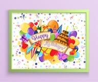 Kolorowa ręka rysujący doodle wakacyjny plakatowy szablon Kolorowa wektorowa grafika Korporacyjnej tożsamości projekt Wzór z udzi fotografia stock