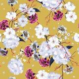 Kolorowa ręka rysuje bezszwowy deseniowy Kwitnący rysunkowy kwiecistego Obraz Royalty Free