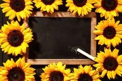 Kolorowa rama żółci słoneczniki Zdjęcie Stock