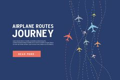 Kolorowa samolot linii ścieżka Samolotowe trasy podróż sztandaru szablon ilustracja wektor