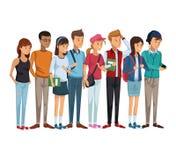 Kolorowa set grupa uczni nastolatków stać ilustracji