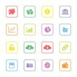 Kolorowa sieci ikona ustawia 4 z zaokrągloną prostokąt ramą Zdjęcia Royalty Free