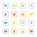 Kolorowa sieci ikona ustawia 1 z zaokrągloną prostokąt ramą Obrazy Stock