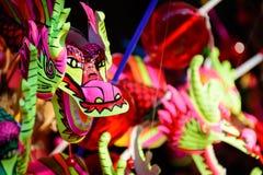 Kolorowa smok głowa w Chińskim dnia festiwalu zdjęcia stock