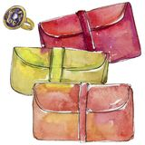 Kolorowa sprzęgłowa nakreślenie mody splendoru ilustracja w akwarela stylu odizolowywającym ilustracja wektor