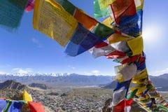 Kolorowa tibetan modlitwa zaznacza przy Leh, Ladakh, India obraz royalty free