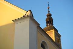 Kolorowa ulica w barokowym grodzkim Varazdin widoku, turystyczny destinati zdjęcia royalty free
