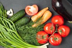 Kolorowa warzywo rama, zdrowego karmowego concept/odgórny widok Obraz Stock