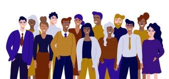 Kolorowa wektorowa ilustracja w płaskim kreskówka stylu grupy portrecie śmieszni uśmiechnięci urzędnicy lub urzędnicy stoi wpólni ilustracja wektor
