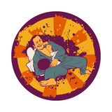 Kolorowa wektorowa ilustracja z brazylijczyka Jiu Jitsu wojownikami Obraz Royalty Free