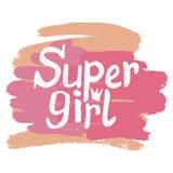 Kolorowa wektorowa ilustracja z słowo Super dziewczyną Fotografia Royalty Free