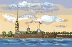 Kolorowa wektorowa ręka rysuje ST Petersburg 6 royalty ilustracja