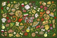 Kolorowa wektorowa ręka rysująca doodle kreskówka ustawiająca włoski karmowy ob Fotografia Stock