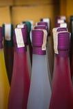 Kolorowa wino butelek kolekcja Zdjęcia Royalty Free