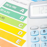 Kolorowa wydajności energii mapa, kalkulator nad nim i - zamyka w górę strzału Zdjęcie Stock