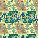Kolorowa zieleń, błękit, brąz, nowożytny wektorowy plemienny afrykanina wzór ilustracja wektor