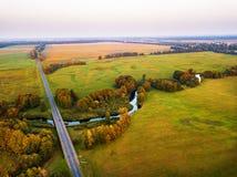 Kolorowa zmierzch jesieni scena od above zdjęcie stock