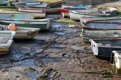 Kolorowe łodzie w czasie odpływu morza, lokalizować wzdłuż Thames ujścia na morzu, Leigh obrazy stock