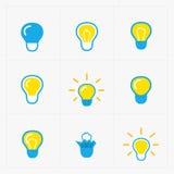 kolorowe światła żarówki Żarówki ikony set Fotografia Stock