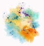 Kolorowe akwareli plamy, pluśnięcia i ilustracja wektor
