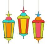 Kolorowe Arabskie lampy dla Ramadan Kareem ilustracja wektor
