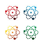 Kolorowe atom ikony na białym tle odosobnione atom ikony EPS8 Zdjęcia Stock