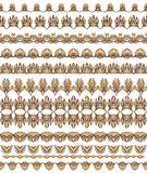 Kolorowe Bezszwowe granic linie ustawiać Etniczny pasiasty deseniowy tło w jaskrawych kolorach również zwrócić corel ilustracji w Fotografia Royalty Free
