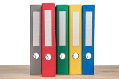 Kolorowe biurowe falcówki jako tło Zdjęcia Stock