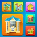Kolorowe budynek ikony Obrazy Stock